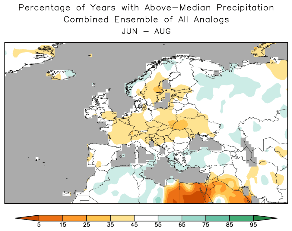 World Climate Service depiction of the percentage of years with below normal precipitation from an analog forecast analysis