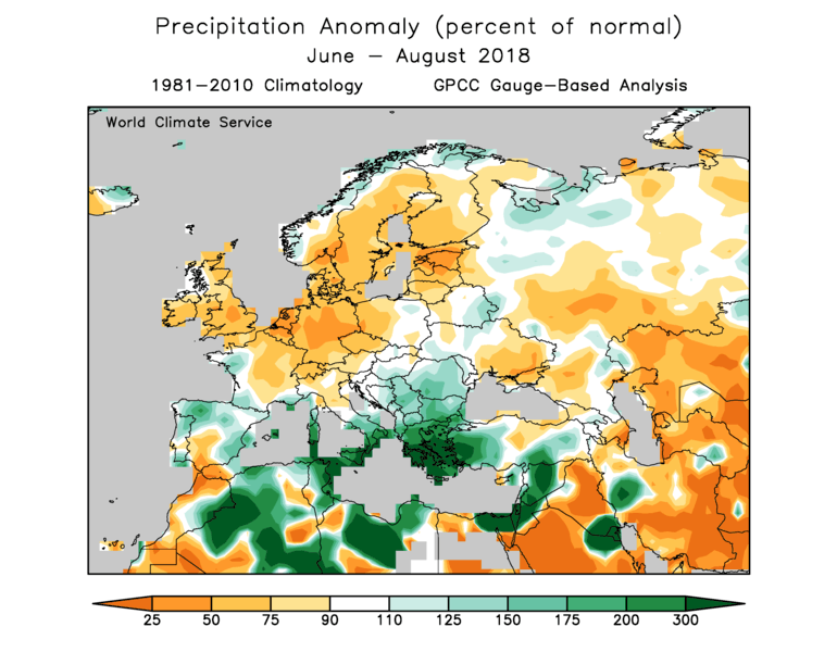 World Climate Service European observed precipitation anomaly in 2018