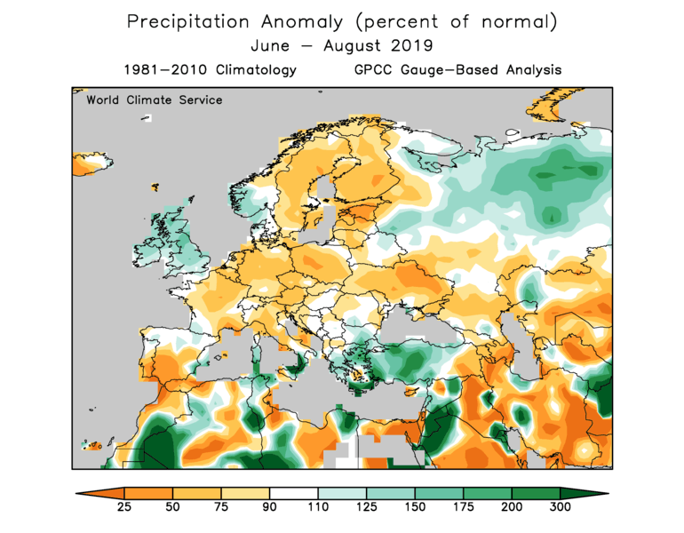 World Climate Service European Summer 2019 Precipitation Anomaly