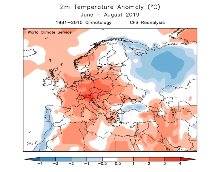 World Climate Service 2019 European Summer Observed Temperature Anomaly