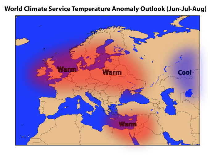 World Climate Service European Summer Forecast for temperature in 2018