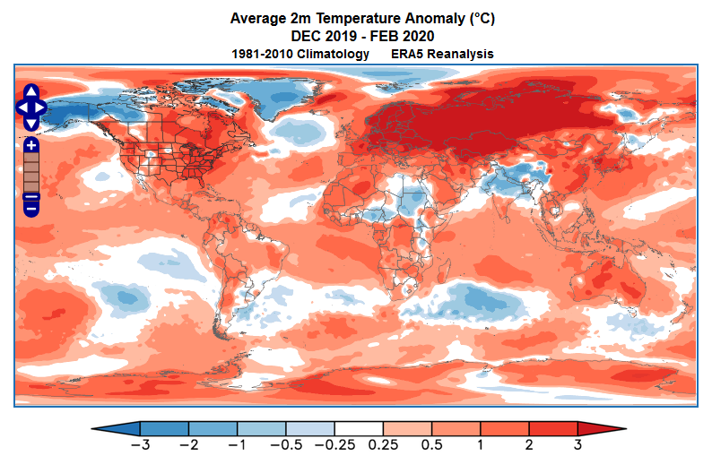 Winter 2019-2020 temperature anomalies related to the Arctic Oscillation