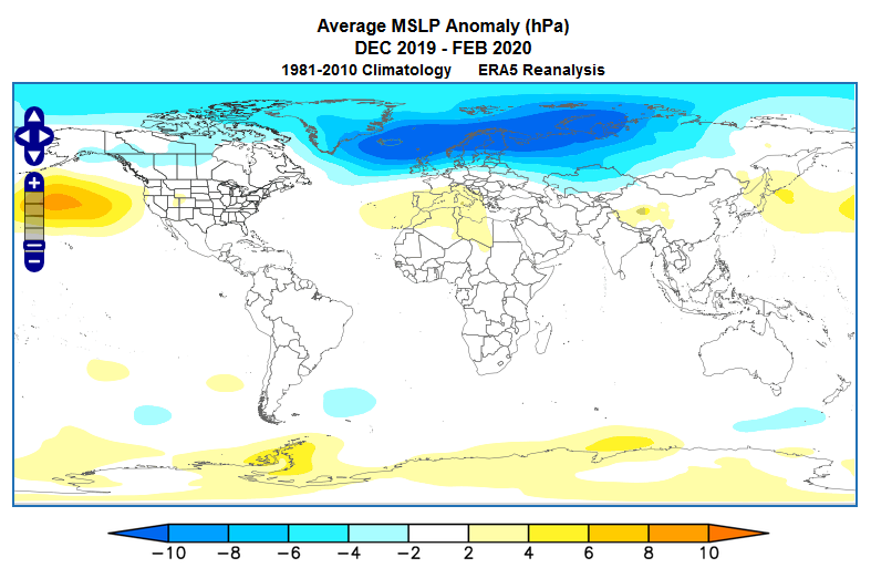 Mean sea level pressure anomalies of the 2019-2020 winter.