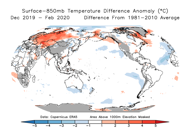 Departure from normal of the 850 mb temperature vs surface temperature difference