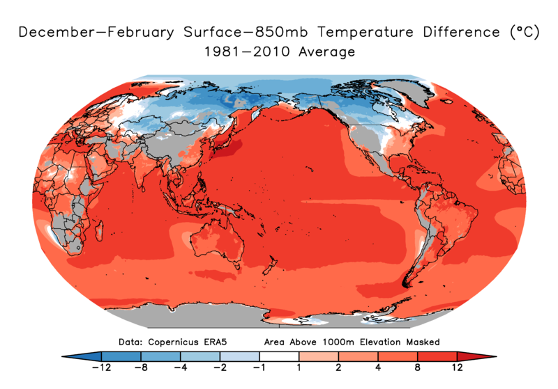 Climatology of the 850 mb temperature  to surface temperature difference.